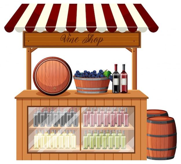 Un puesto de tienda de vinos.