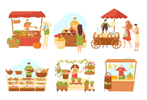 Puesto de tiendas de mercado conjunto de vendedores en mostrador y comida, ilustraciones. vendedores de mercado en quioscos con verduras, pan, especias, carne y productos lácteos puesto de pie. tiendas de abarrotes en la calle.