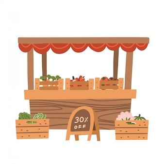Puesto de verduras local. tienda de productos alimenticios orgánicos frescos en estantes de madera. granjero del mercado local vendiendo verduras en su puesto con toldo. promover el concepto de alimentación saludable. ilustración plana