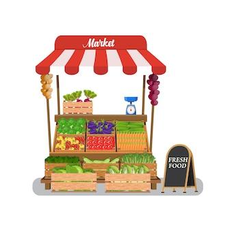 Puesto de verduras local.