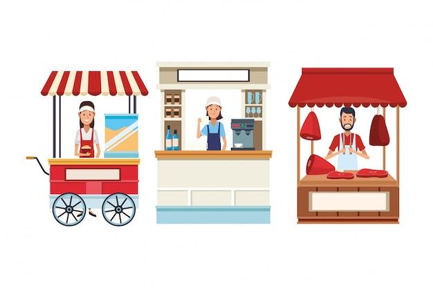 Puestos de comida de dibujos animados
