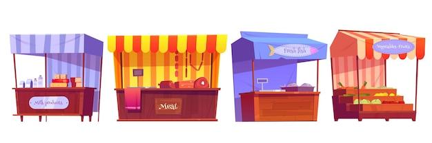 Puestos del mercado de alimentos con frutas, verduras, leche, carne y pescado en el mostrador y en cajas.