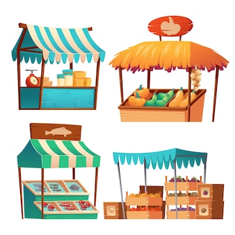 Puestos de mercado de alimentos con verduras, queso y pescado en mostrador y en cajas