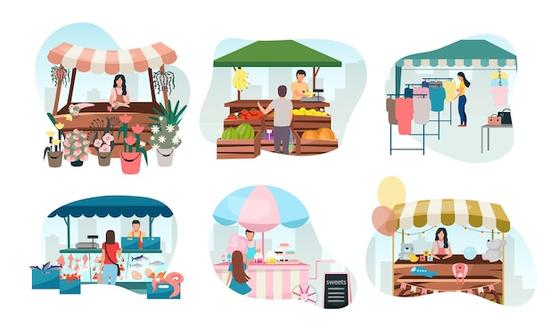 Los puestos de mercado callejero conjunto plano. carpas de feria, feria comercial, quioscos al aire libre y carritos con vendedores. concepto de dibujos animados de lugares comerciales. mostradores del mercado del festival de verano.