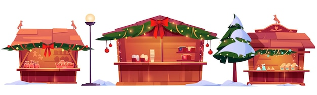 Puestos de mercado de navidad, casetas de madera de feria callejera decoradas con ramas de abeto