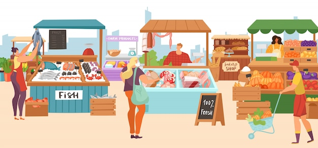 Puestos de venta en el mercado de alimentos, carnicería de agricultores locales, tienda de quioscos de pescado, panadería y verduras, puestos de frutas, ilustraciones.