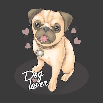 Pug cachorro lindo regalo de san valentín lleno de amor. ilustraciones de pintura de acuarela