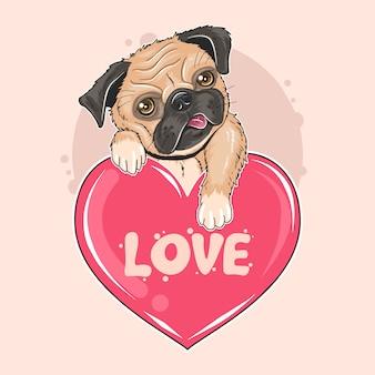 Pug dog valentine puppy ilustraciones