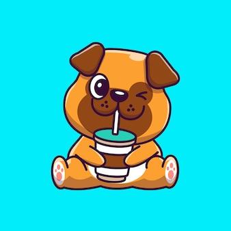 Pug lindo bebiendo café icono ilustración. personaje de dibujos animados de mascota pug concepto de icono animal aislado