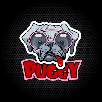 Pug llevaba gafas con lengua graciosa.