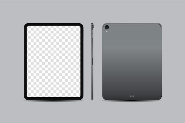Pulgada de tableta digital realista con pantalla en blanco