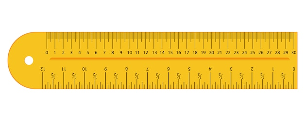 Pulgadas amarillas originales y regla de centímetros. herramienta de medición, cuadrícula de graduación, ilustración plana.