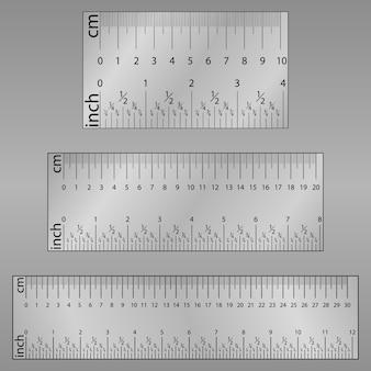 Pulgadas originales y cm centímetro regla. herramienta de medición, cuadrícula de graduación, ilustración plana.
