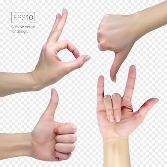 Pulgar hacia abajo, ok, rock, como signos. mano femenina sobre un fondo transparente muestran signos.