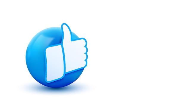 Pulgar hacia arriba 3d signo de bola emoticon icon design para redes sociales