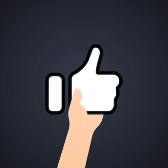 Pulgar hacia arriba icono. concepto de redes sociales. vector sobre fondo aislado. eps 10.