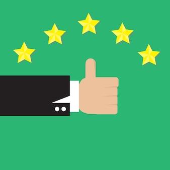 Pulgar arriba vector con cinco estrellas sobre fondo verde