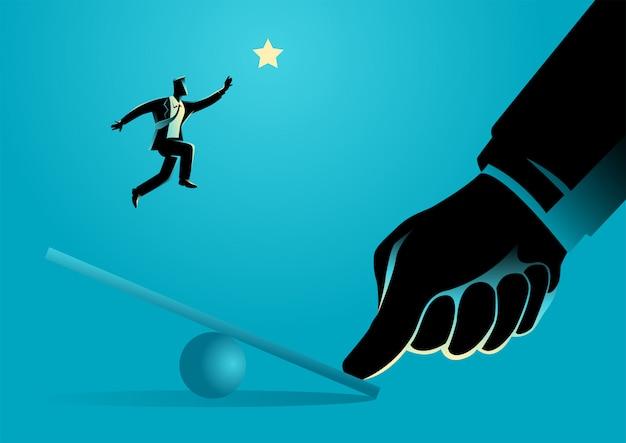 Pulgar gigante ayudando a empresario a saltar en balancín