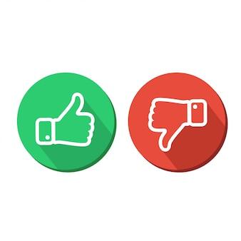 Pulgares arriba y pulgares abajo. verde y rojo como icono y disgusto ilustración conjunto sobre fondo blanco.