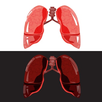 Pulmón bueno y malo - ilustración vectorial