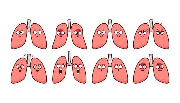 Pulmón humano ilustración de personaje de dibujos animados lindo con emoticon de expresión emoji set feliz triste enojado enojado enojado y molesto