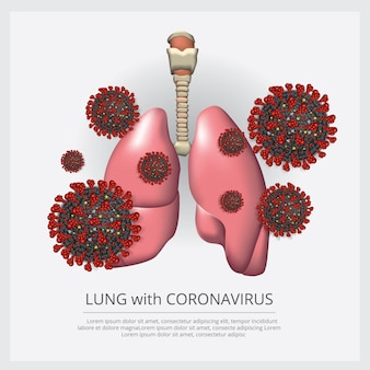 Pulmón con la ilustración del vector corona virus 2019-ncov