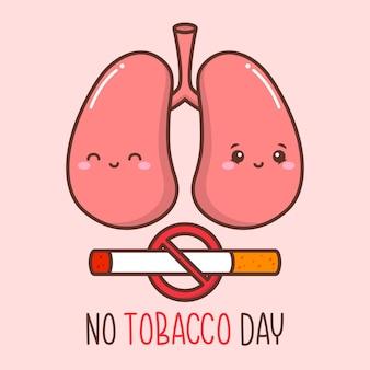 Pulmón lindo en la campaña del día sin tabaco
