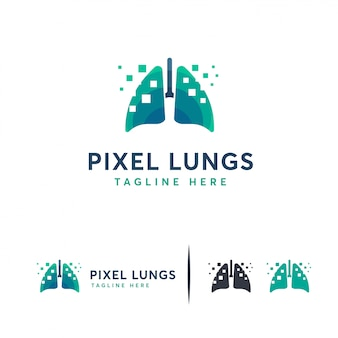 Pulmones digitales, logotipo de pixel lungs