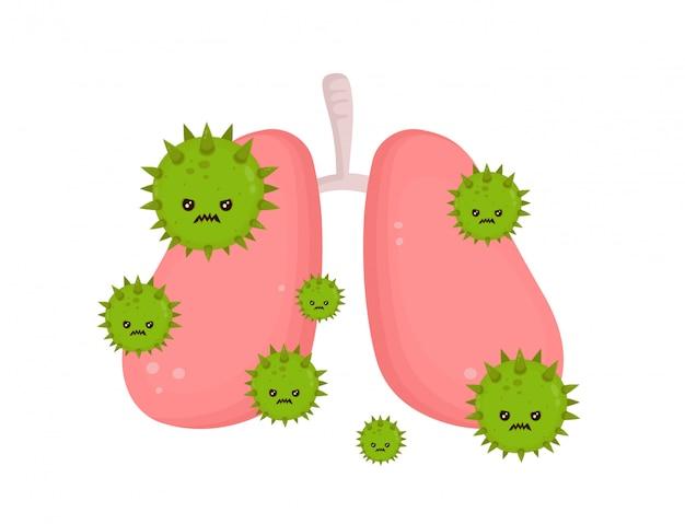Pulmones enfermos no saludables con el virus de la enfermedad enojado.