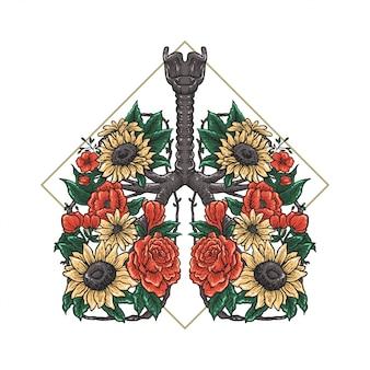 Pulmones flor dibujo a mano ilustración