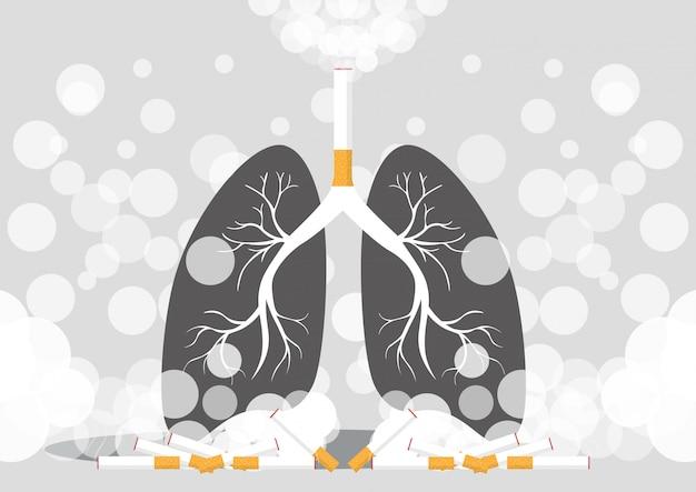 Los pulmones fuman cáncer