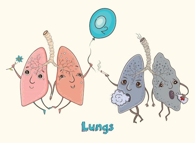 Pulmones humanos de personaje de dibujos animados