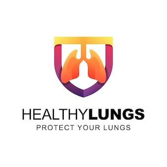 Pulmones sanos con escudo protegen la plantilla de logotipo de gradiente de pulmones