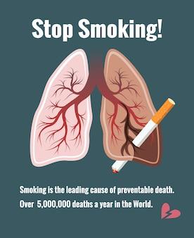 Pulmones y tabaquismo, deja de fumar. cáncer y tabaco, muerte y enfermedad