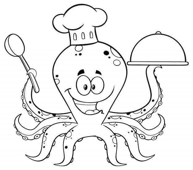 Pulpo blanco y negro chef personaje de dibujos animados que sirve comida en una bandeja de plata. ilustración aislada en blanco