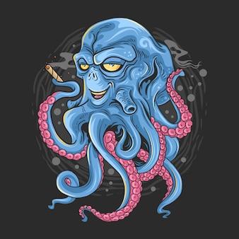 Pulpo con cara extranjera y tentáculos ilustración de monstruos