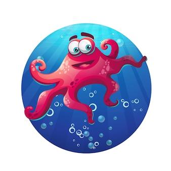Pulpo cómico de dibujos animados bajo el agua en el océano. ilustración vectorial