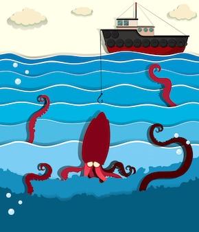 Pulpo gigante y bote de pesca