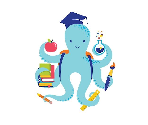 Pulpo con una gran cantidad de iconos educativos, elementos. volver al concepto de escuela. ilustración vectorial y diseño