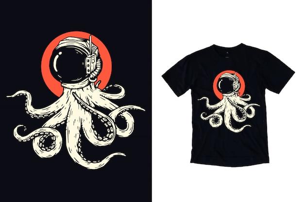 Pulpo con ilustración de casco de astronauta para diseño de camiseta