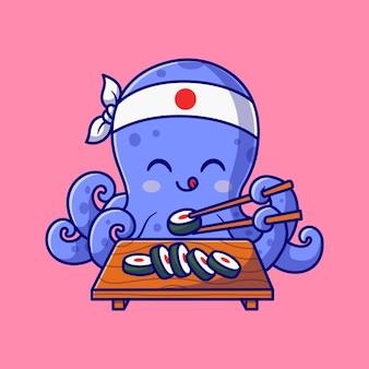 Pulpo lindo que come la ilustración del icono del vector de la historieta del sushi. concepto de icono de comida animal aislado vector premium. estilo de dibujos animados plana