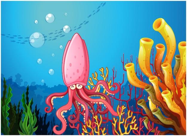 Un pulpo bajo el océano.