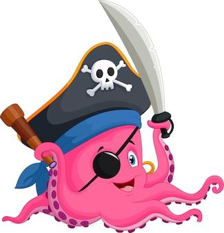 Pulpo pirata de dibujos animados