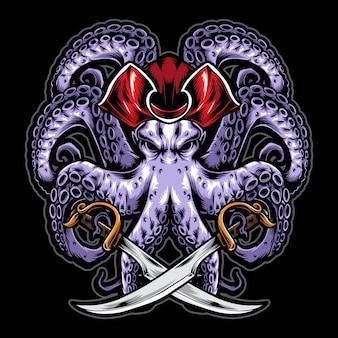 Pulpo pirata con espada