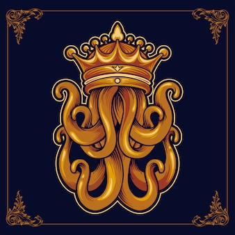Pulpo rey kraken con corona de lujo