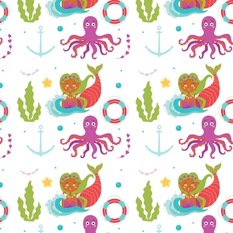 Pulpo sirena con patrón de bebé marino
