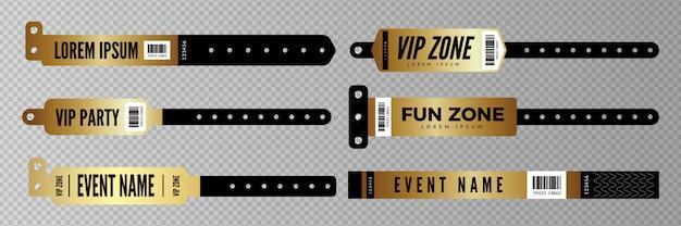 Pulseras de eventos. llave de entrada dorada para fiesta, concierto, disco bar. pulseras de entrada sobre fondo transparente.