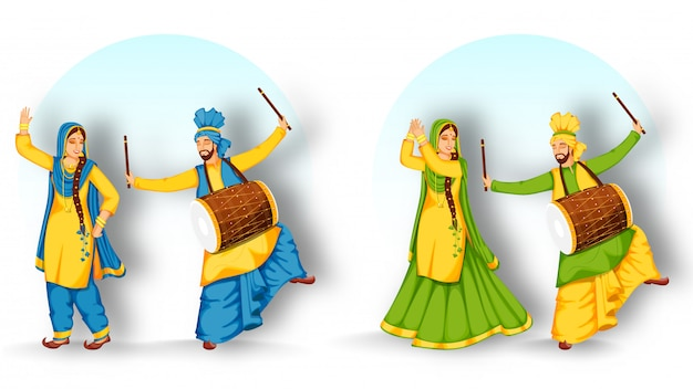 Punjabi man playing dhol (drum) y woman performing bhangra dance en dos opciones.