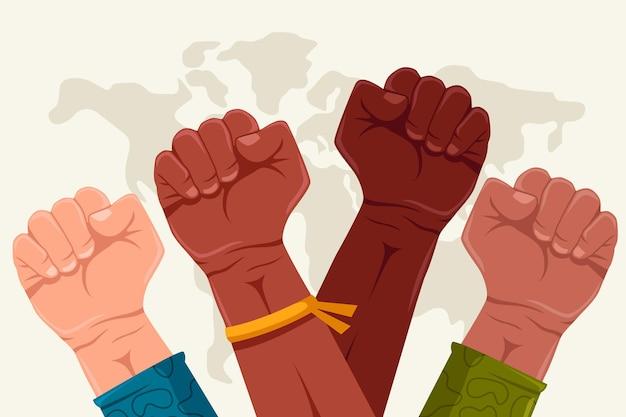 El puño de colores multirraciales detiene el concepto de racismo