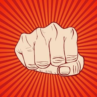 Puño mano dibujar boceto concepto de protesta de mano apretada diseño retro sobre un fondo rojo. ilustración vectorial